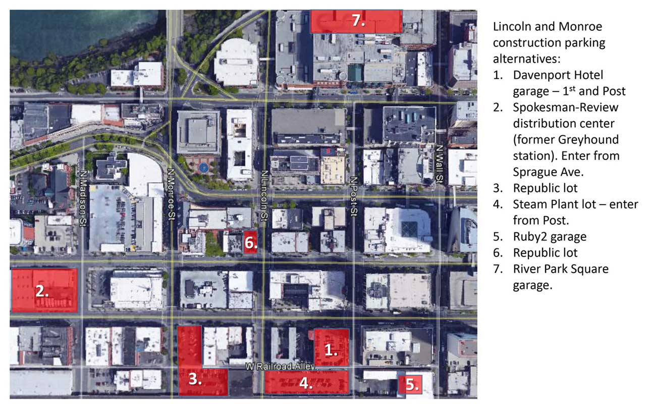 Lincoln and Monroe Construciton Alternative Parking Map