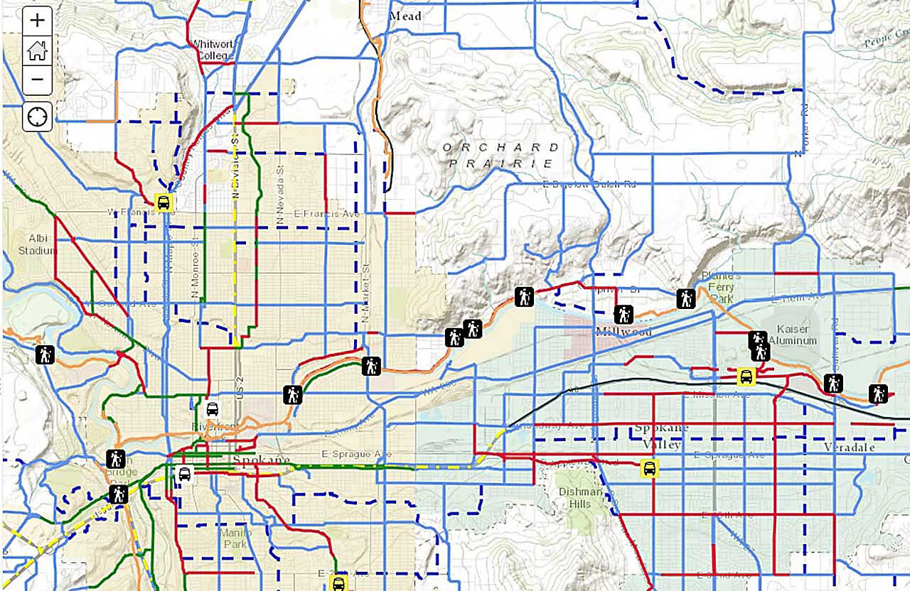 Map Of Spokane The SRTC Interactive Online Bike Map   City of Spokane, Washington