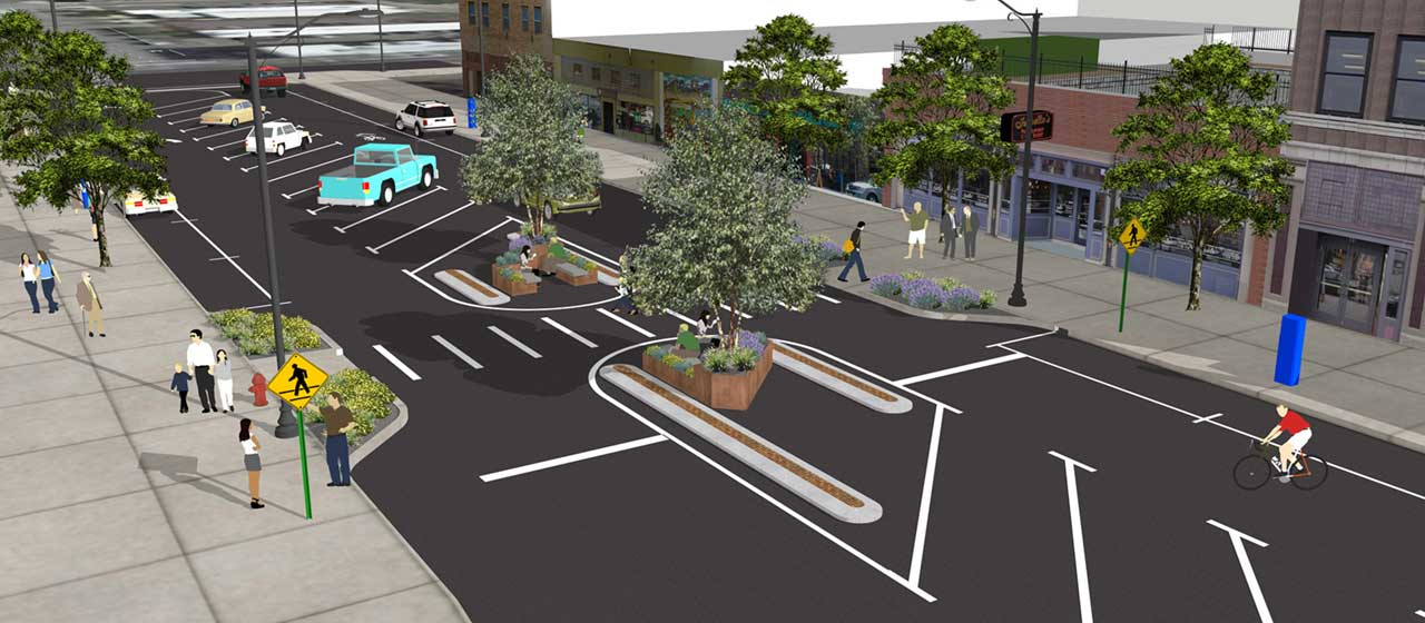 Main Ave Streetscape Pilot Project Rendering