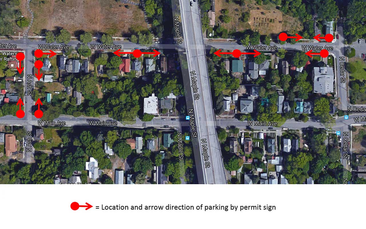 Peaceful Valley Parking Sign Locations