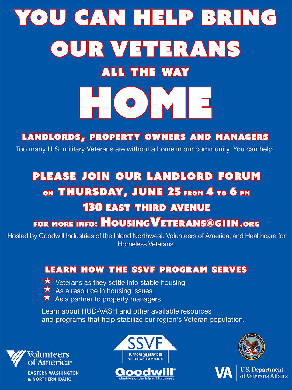 Help Bring Our Veterans All the Way Home Flyer