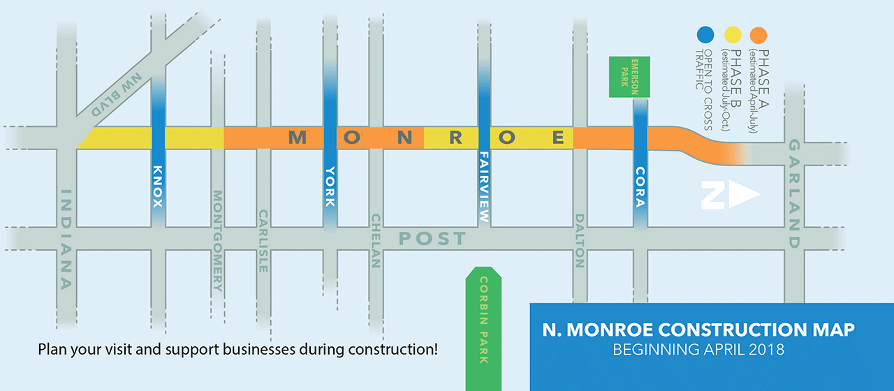 North Monroe Construction Map