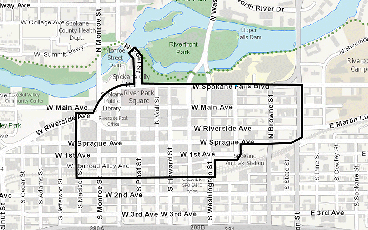 Wheelshare Downtown Boundary Map