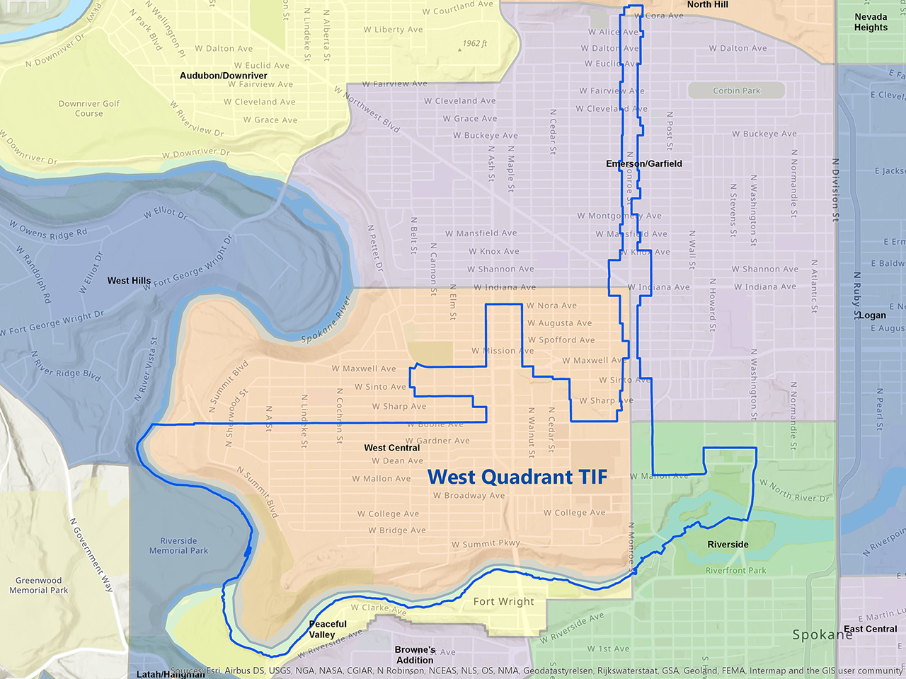 West Quadrant Tax Increment Financing District Map
