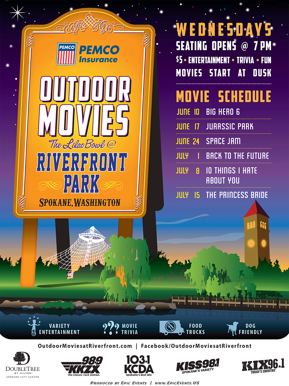 pemco outdoor movies at riverfront park city of spokane washington
