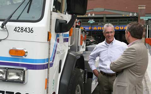 Mayor examining about CNG truck